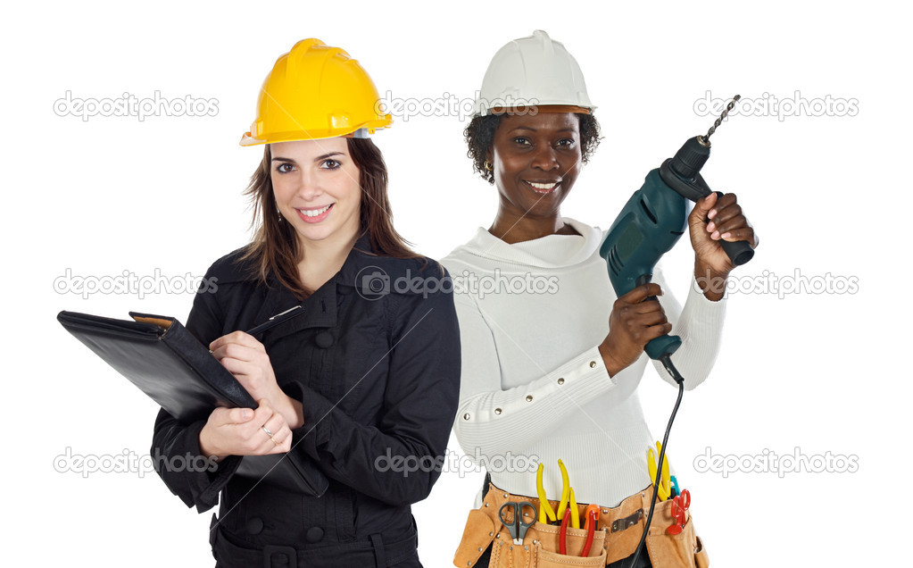 Team of construction workers isolated on white — Stock Photo #9627315