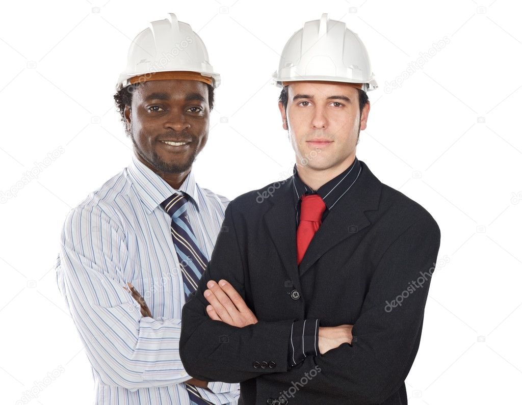 Couple of engineers on a over white background — Stock Photo #9627339
