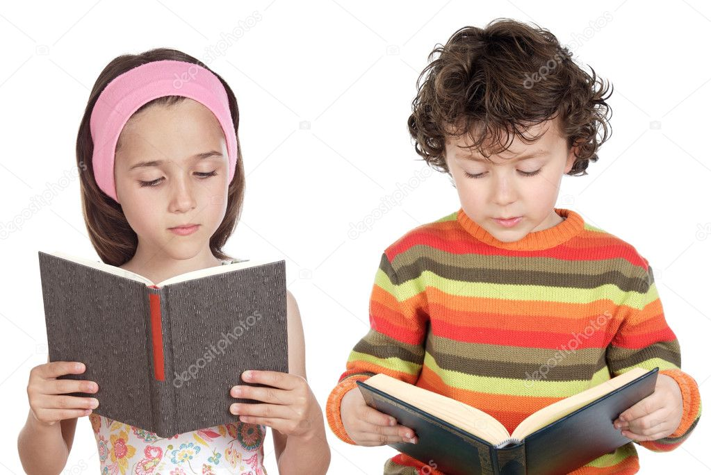 Children reading a book a over white background — Foto Stock #9627462