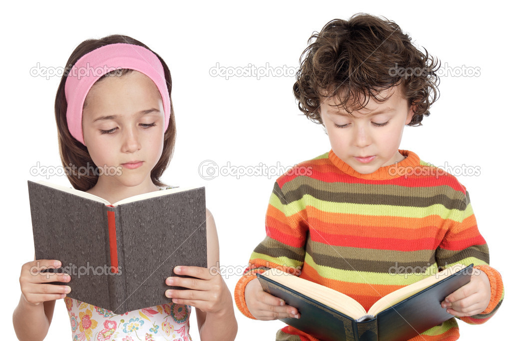 Children reading a book a over white background — Lizenzfreies Foto #9627462