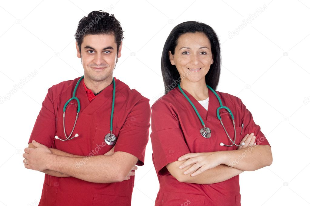 Couple of doctors isolated on a over white background — Stock Photo #9627760