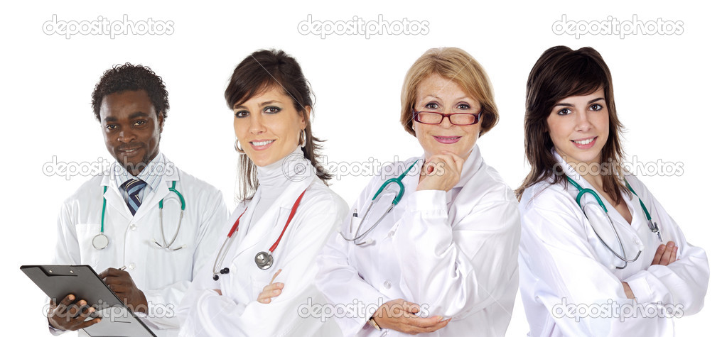 Medical team on a over white background  Stock Photo #9627958