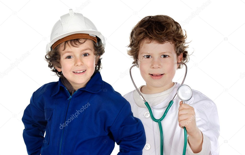 Future generation of workers a over white background — Stock Photo #9628474