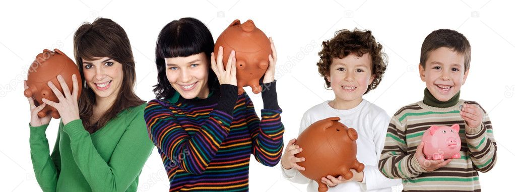 Two children and two teenagers with the savings isolated over white — Stock Photo #9628542