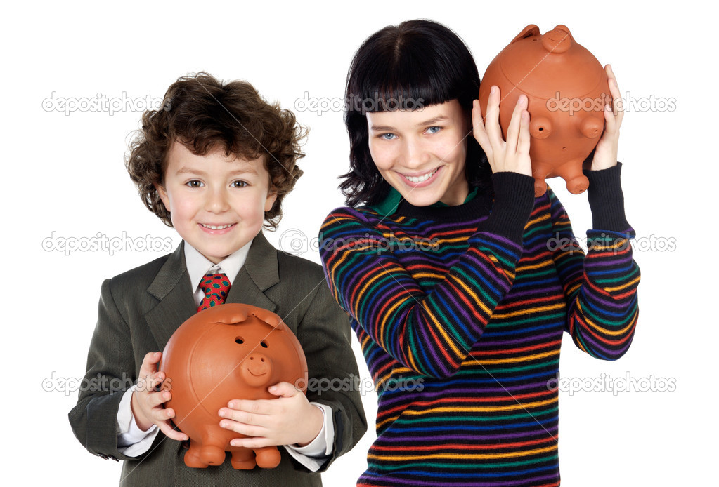 Little boy and pretty girl with moneybox isolated over white — Stock Photo #9628558