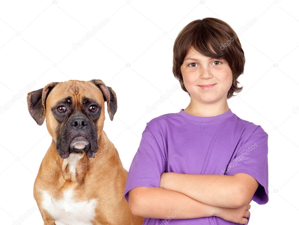 Adorable boy and his dog isolated on white background  Stock Photo #9628595
