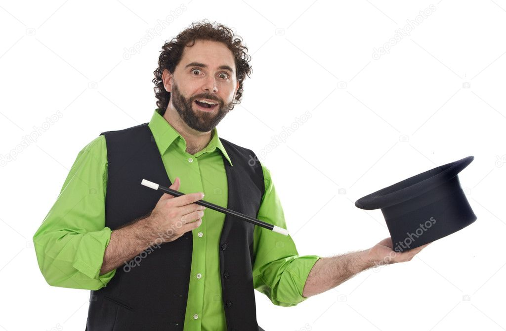 Portrait of a magician with his wand on a over white background — Stock Photo #9629186
