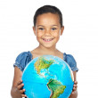 Girl with a globe of the world — Stock Photo #9630157