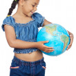 Girl with a globe of the world — Stock Photo