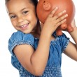Girl whit money box - Stock Photo