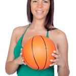 vacker flicka med en basketboll — Stockfoto