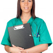 Happy doctor woman with clipboard - Stock Photo