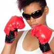 Exotic african girl with sunglasses and boxing gloves — Stockfoto