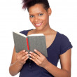Exotic african girl reading a book — Stock Photo #9631080