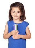 Brunette little girl with colored pencil — Stock Photo