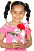 Girl whit one rose — Stock Photo