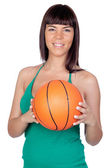 Beautiful girl with a basketball — Stock Photo