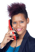 African girl talking on phone — Stock Photo