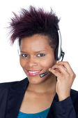 African girl with headphone — Stock Photo