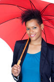 African girl with a umbrella — Stock Photo