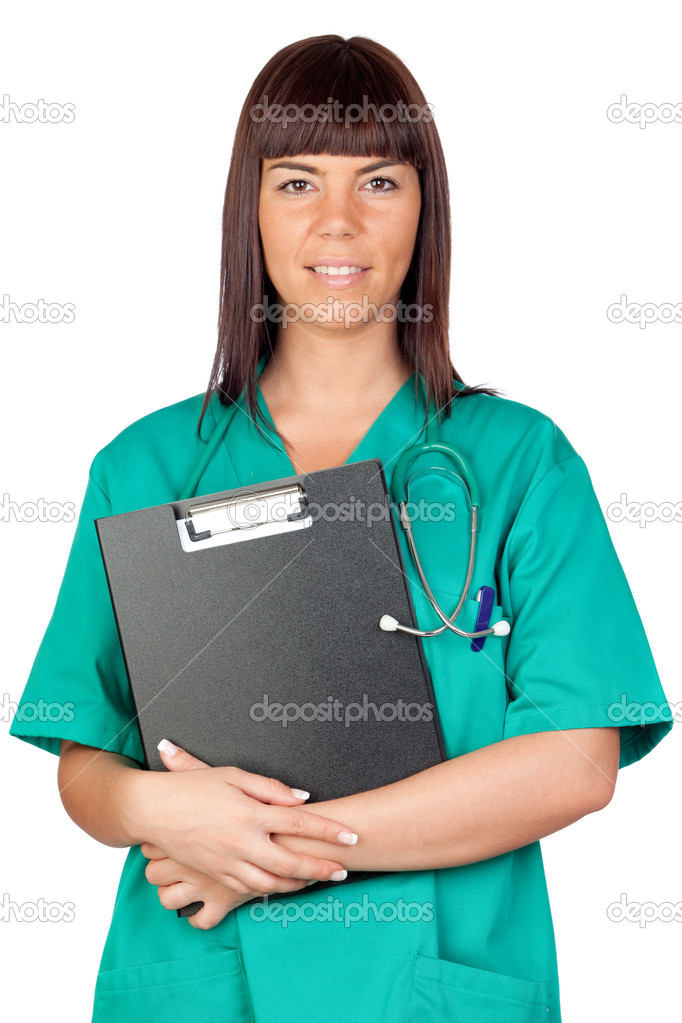 Happy doctor woman with clipboard isolated on white background — Stok fotoğraf #9630881
