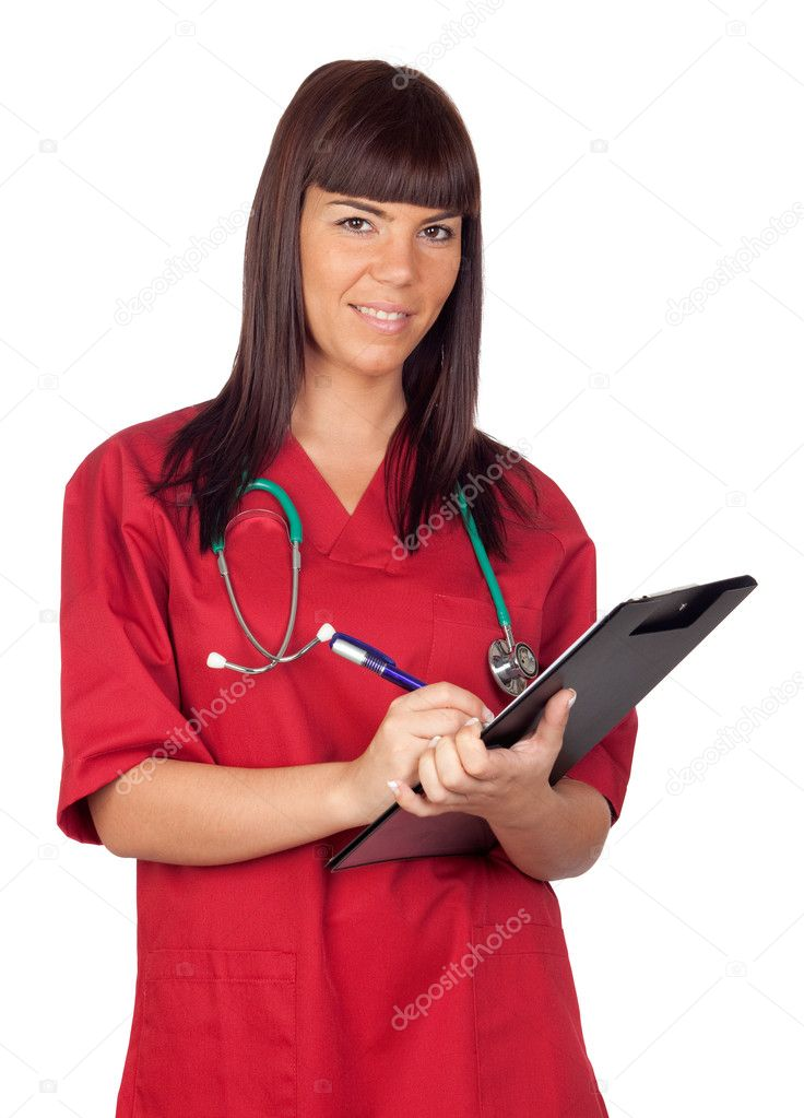 Happy doctor woman with clipboard isolated on white background — Stock Photo #9630895