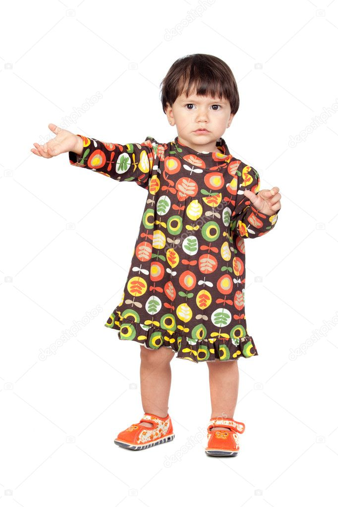 Adorable baby girl with a floral dress isolated on a over white background — Stock Photo #9630946
