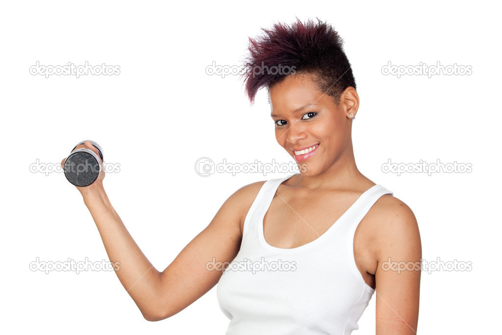 Exotic african girl in the gym lifting weights isolated on white background  Stock Photo #9631042
