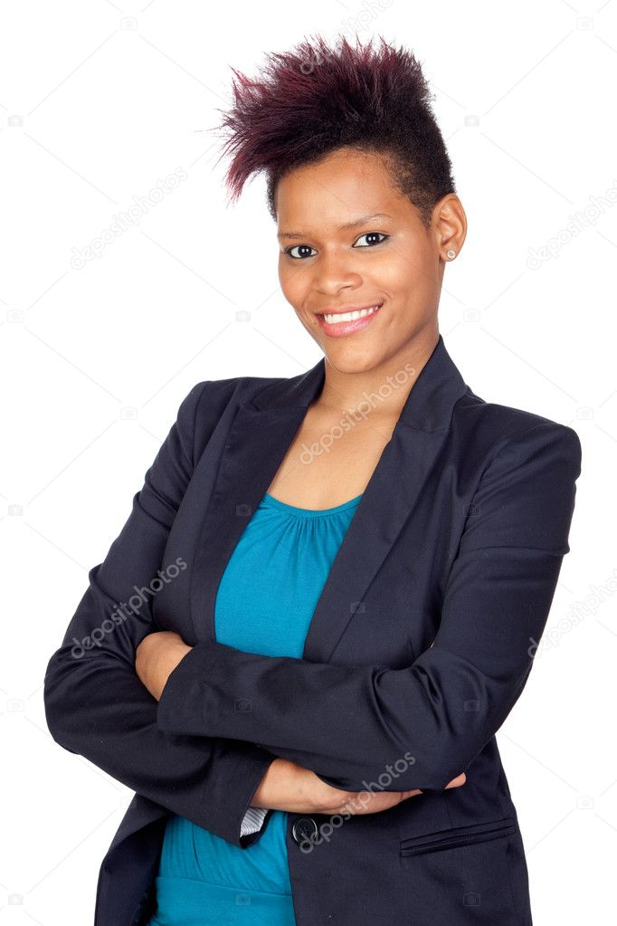 Exotic african girl with a formal jacket isolated on white background — Stock Photo #9631109