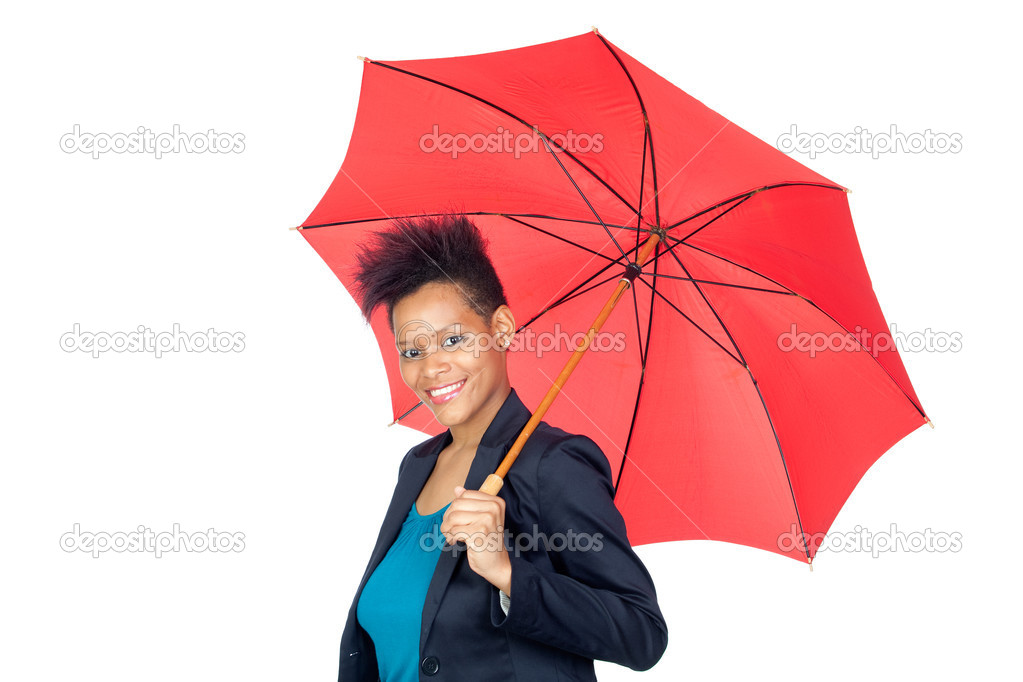 African girl with a umbrella isolated on white background — Stock Photo #9631143
