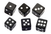 Six black dices — Foto Stock