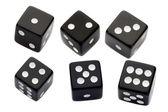Six black dices — Stock Photo