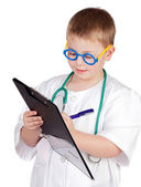 Funny child with doctor uniform — Stock Photo
