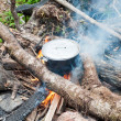 Foto Stock: Cooking Over Fire