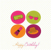 Fashion birthday card — Stock Vector
