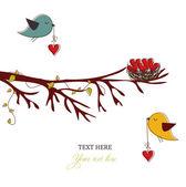Tarjeta con pájaros y corazones — Vector de stock