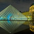 Louvre museum at night, Paris, France - Stock Photo