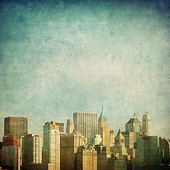 Grunge image of new york skyline — Stockfoto