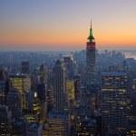 Panorama of manhattan at sunset, new york — Stock Photo