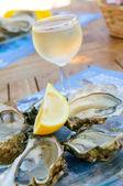 Färska ostron och ett glas vin — Stockfoto