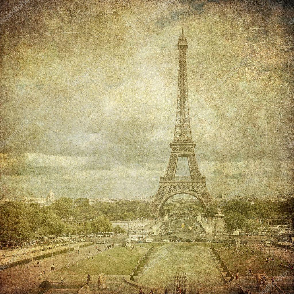 Vintage Image Of Eiffel Tower Paris France Stock Photo