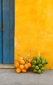 Fresh coconuts in the street of Cartagena, Colombia — Stock Photo