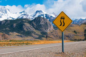 Slippery when wet warning road sign — Stock Photo