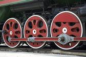 Retro buharlı tren jantlar — Stok fotoğraf