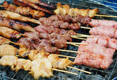 Grilled satay, street food in thailand — Stock Photo