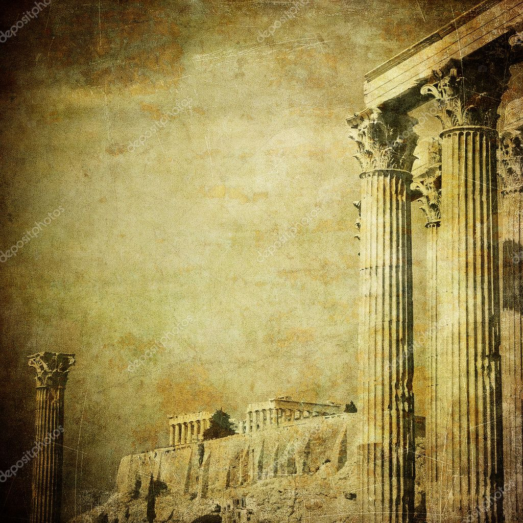 Vintage image of greek columns, Acropolis, Athens, Greece ...
