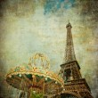 Vintage image of Eiffel tower, Paris, France — Stock Photo #9388930