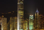 Skyscrapers of hongkong at night — Stock Photo