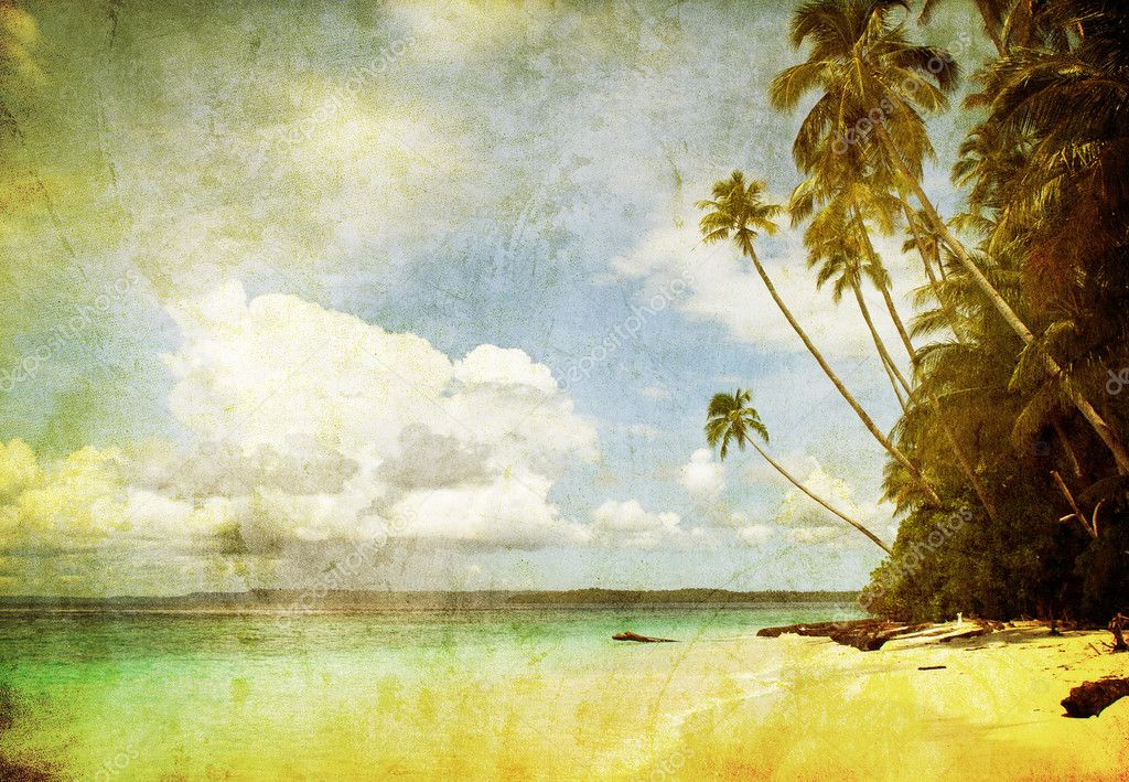 Grunge image of tropical beach — Stock Photo #9388315