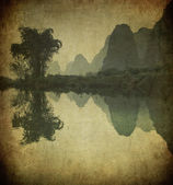 Grunge εικόνα του ποταμού yulong, επαρχία guangxi, κίνα — Φωτογραφία Αρχείου
